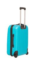 Modern bright suitcase on white background.