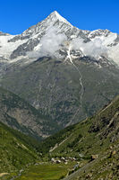 Weisshorn peak rises above the Mattertal valley, Täschalp, Valais, Switzerland