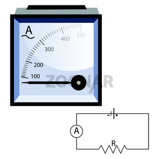 Minimalistic ammeter vector illustration on white background.