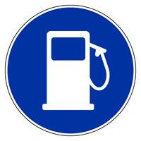 Tankstelle und Verkehrsschild - Gas station and blue sign