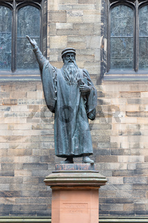 Statue John Knox near Edinburgh University, Scotland