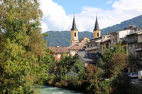 View over River Rienz to Parish church  Assumption of Mary