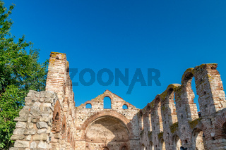 The Church of Saint Sofia or Old Bishopric in Nessebar ancient city. Nesebar, Nesebr is a UNESCO World Heritage Site. Ruins of an old church. A Byzantine architecture church in Nessebar, Bulgaria