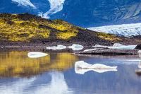 The thawed snow of glacier Vatnajokull