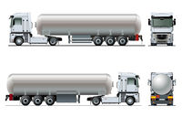 Vector realistic tanker truck template isolated