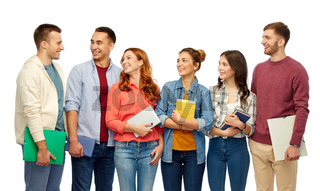 group of students talking over white background