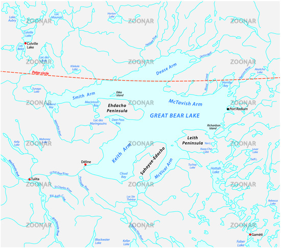 Map of the Great Bear Lake Northwest Territories canada
