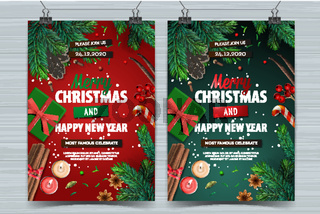 Christmas party and Happy New Year design templates, Holiday posters with Christmas decoration, vector illustration.