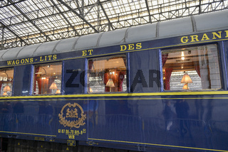 Orient Express Blue train stopped in town of Brive