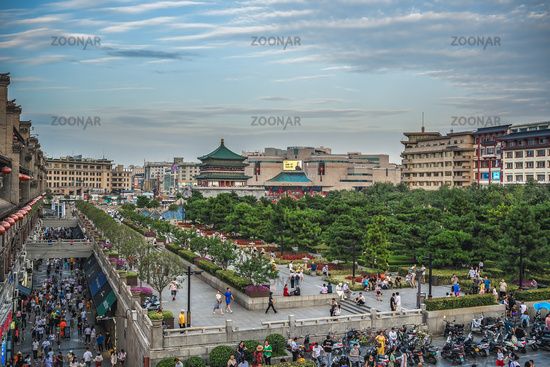 Crowds in busy Xian town centre square