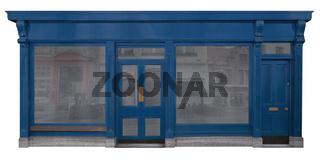 Blau lackiertes Holzfassade von einem Verkaufsraum, freigestellt auf weißem Hintergrund
