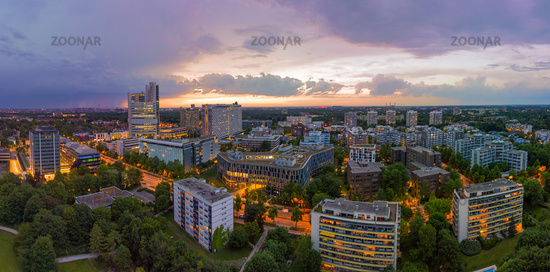 Munich from above, a panoramic droneshot in the colorful evening, Bavaria, Germany.