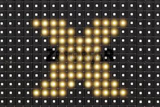 Dots matrix led diplay panel with illuminated symbol of  X cross symbol