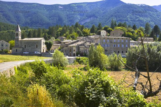 village Savoillan with mountain scenery
