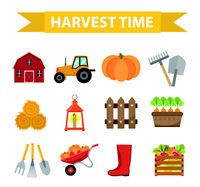 Autumn harvest time icons set flat cartoon style. Harvesting collection of elements design. Farm, thanksgiving day concept, argoticulture. Isolated on white background. Vector illustration