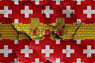 flag of Regencos painted on cracked wall