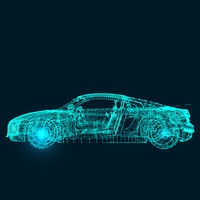 Abstract image of a sport car, consisting of points, lines, and shapes