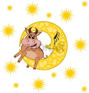 Year of the bull. In the picture, a bull lies on a yellow moon against a starry sky