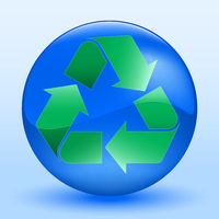 Recycle sign into a sphere. Shiny and crisp.