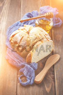 Baked bread, top view