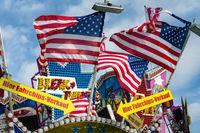 Flags of the USA on a fair