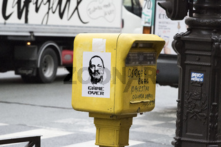 Photocopy of Harvey Weinstein stuck to a Parisian postbox.
