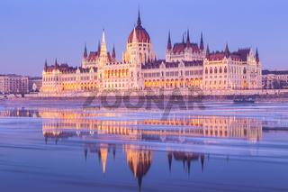 Hungarian parliament building at winter
