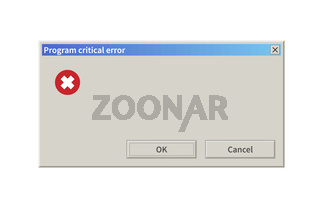 Critical error message, blank template window in retro style on white