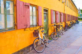 Bycicles old building wall. Copenhagen