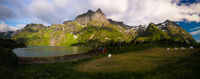 Landscape panoramic view to Eidevatnet lake , Austvagoy, Lofoten, Norway