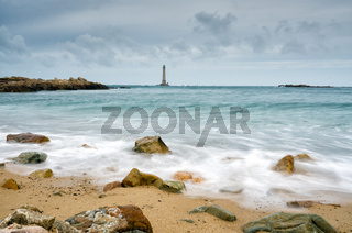 view of the Phare de Goury lighthouse on the north coast of Normandy in France