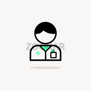Pharmacist man. Icon with shadow on a beige background. Pharmacy vector illustration