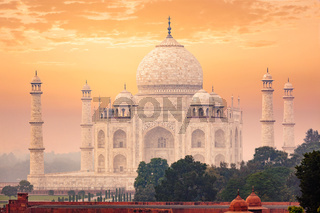 Taj Mahal on sunrise sunset, Agra, India