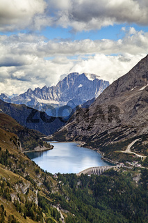 Fedaia lake in Dolomites