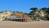 Wooden beach cafe in Albufeira in Portugal