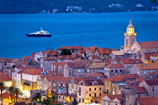 Town of Korcula yavhting destination evening view