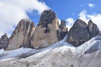 Tre Cime di Lavaredo with snow