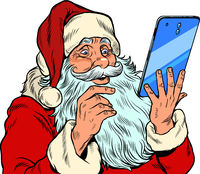 Santa Claus and a big smartphone. Electronic Christmas sales and orders in online stores