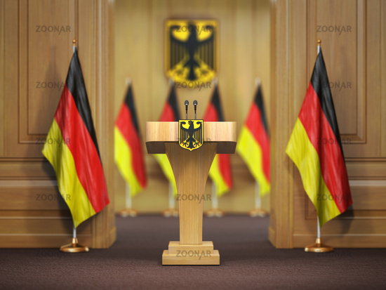 Press conference or briefing of premier minister of Germany concept,. Podium speaker tribune with Germany flags and coat arms.