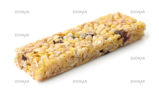Healthy muesli bar made of cereals, honey and dried berries