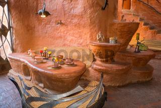 dining room of the terracotta house Villa de Leyva Colombia