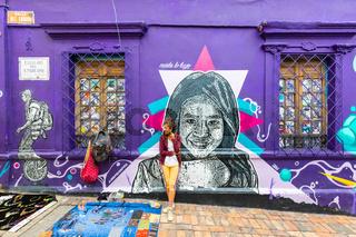 Bogota La Candelaria district decorated facade in the street market area