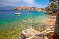Korcula. Historic town of Korcula island waterfront view