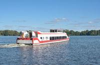 Tourboat in Mueritz National Park,Mecklenburg Lake district,Mecklenburg western Pomerania,Germany