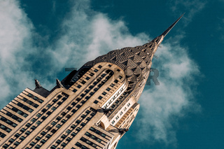 Close-up view of Chrysler Building in Midtown Manhattan New York City