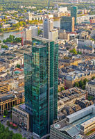 Aerial view over Frankfurt and its skyscrapers