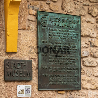 Sindelfingen, Baden Wurttemberg/Germany - May 11, 2019: Central Sign of Town Museum, Stadtmuseum, Altes Rathaus.