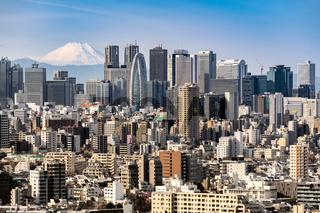 Tokyo skyline and Mountain fuji in Japan.