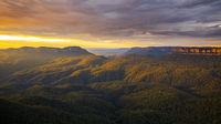 the Blue Mountains Australia at sunset