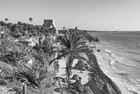 ruins of the mayan city tulum, quintana roo, mexico in black and white